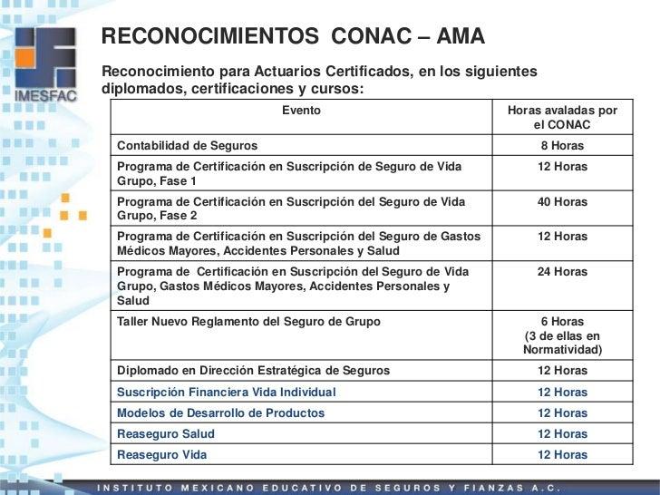 RECONOCIMIENTOS CONAC – AMAReconocimiento para Actuarios Certificados, en los siguientesdiplomados, certificaciones y curs...