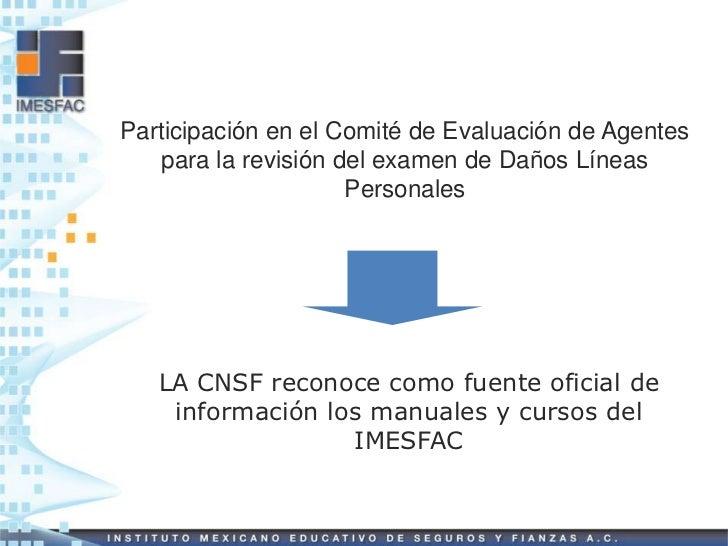 Participación en el Comité de Evaluación de Agentes    para la revisión del examen de Daños Líneas                      Pe...