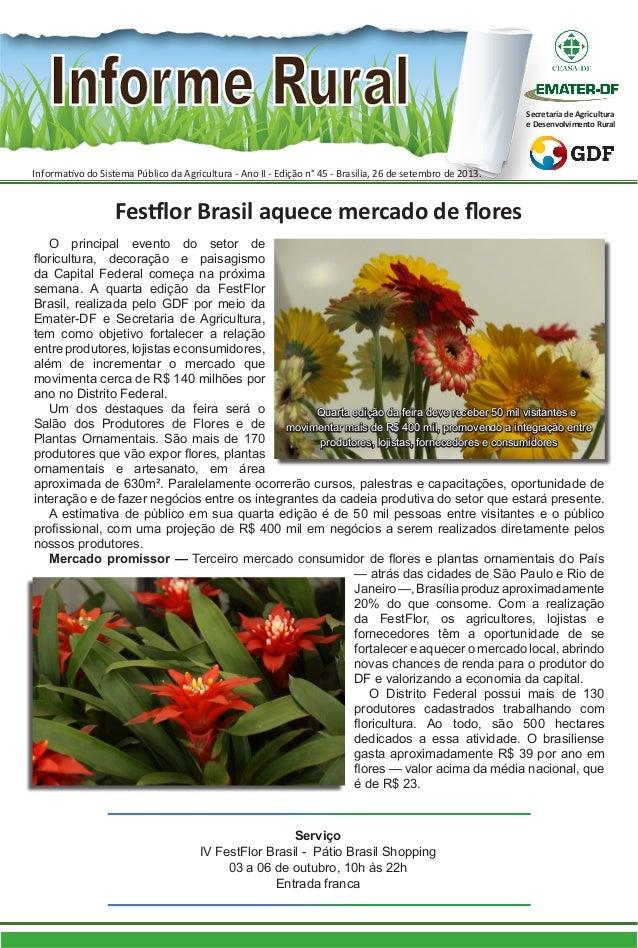 O principal evento do setor de floricultura, decoração e paisagismo da Capital Federal começa na próxima semana. A quarta ...