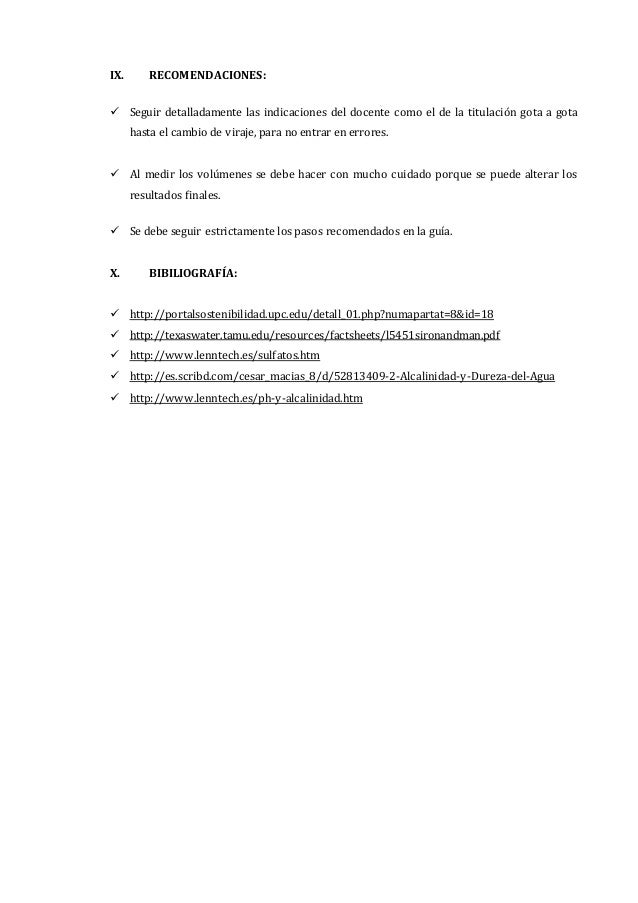 Informe 5 alcalinidad, hierro y sulfato - photo#20