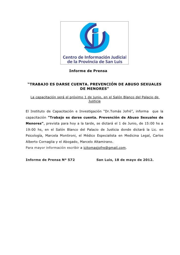 """Informe de Prensa """"TRABAJO ES DARSE CUENTA. PREVENCIÓN DE ABUSO SEXUALES                      DE MENORES""""  La capacitación..."""