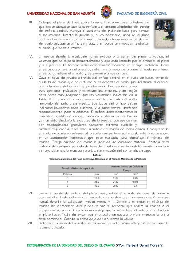 UNIVERSIDAD NACIONAL DE SAN AGUSTÍN FACULTAD DE INGENIERÍA CIVIL  DETERMINACIÓN DE LA DENSIDAD DEL SUELO EN EL CAMPO 7Por:...
