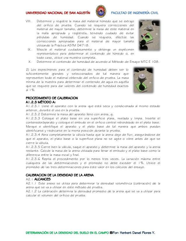UNIVERSIDAD NACIONAL DE SAN AGUSTÍN FACULTAD DE INGENIERÍA CIVIL  DETERMINACIÓN DE LA DENSIDAD DEL SUELO EN EL CAMPO 8Por:...
