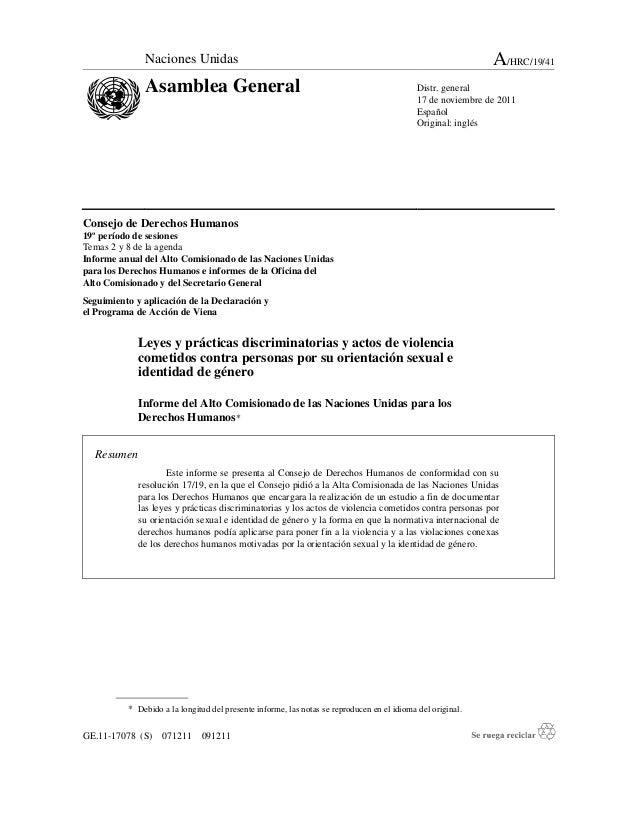 GE.11-17078 (S) 071211 091211 Consejo de Derechos Humanos 19º período de sesiones Temas 2 y 8 de la agenda Informe anual d...