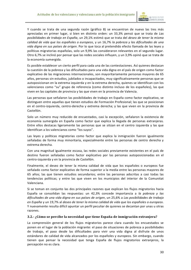 Actitudes de los valencianos y valencianas ante la población inmigranteY cuando se trata de una segunda razón (gráfico 8) ...