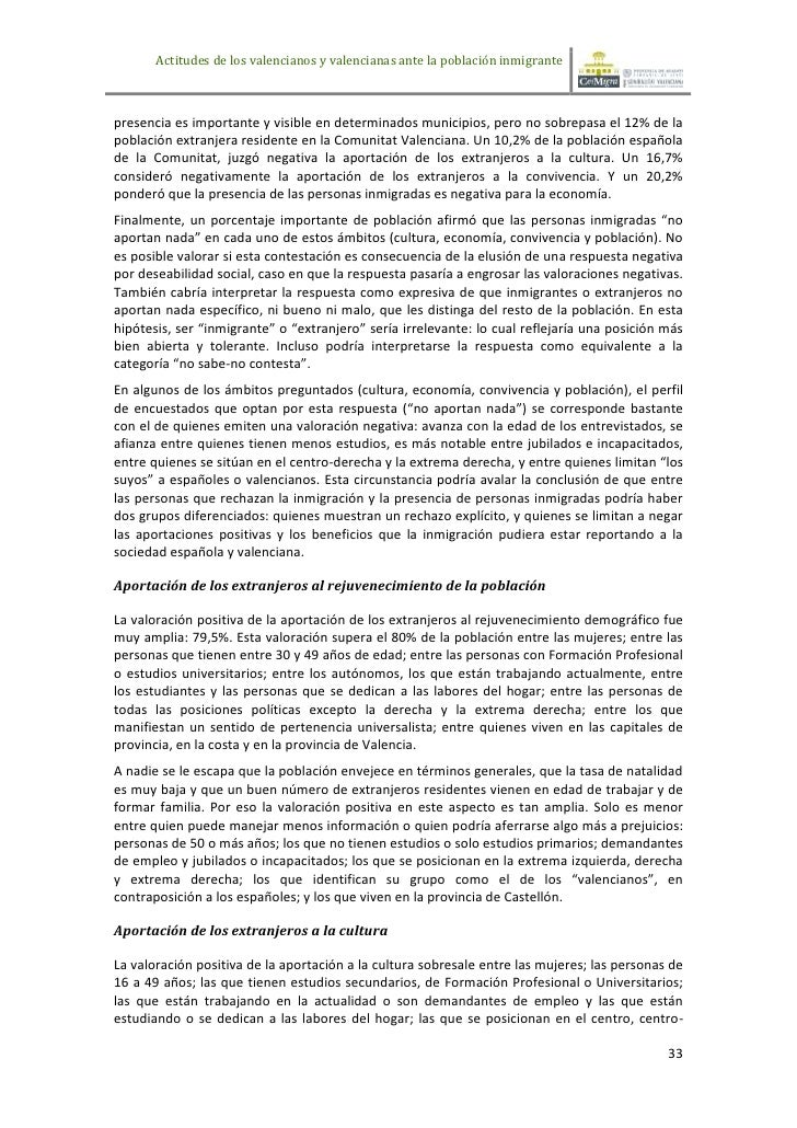 Actitudes de los valencianos y valencianas ante la población inmigrantepresencia es importante y visible en determinados m...