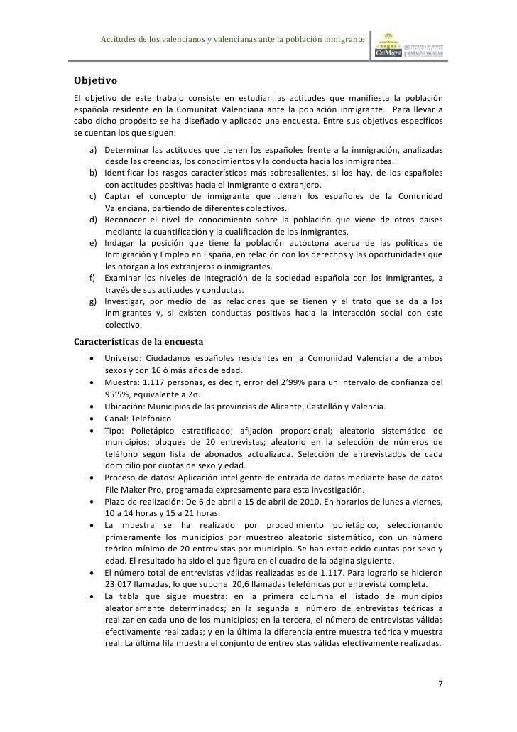 Actitudes de los valencianos y valencianas ante la población inmigranteObjetivoEl objetivo de este trabajo consiste en est...
