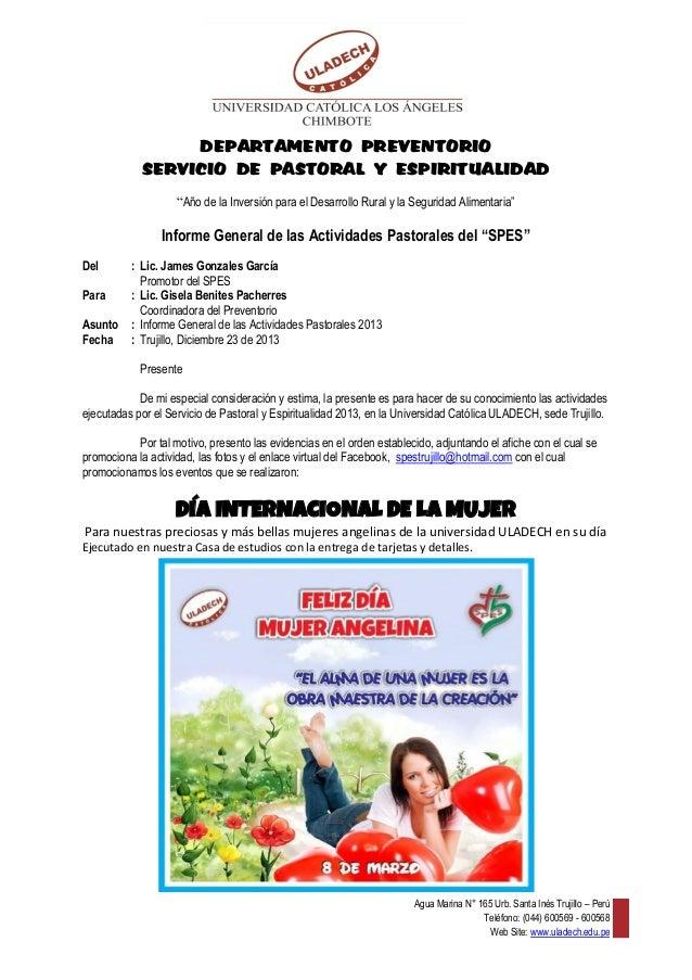 """DEPARTAMENTO PREVENTORIO SERVICIO DE PASTORAL Y ESPIRITUALIDAD """"Año de la Inversión para el Desarrollo Rural y la Segurida..."""