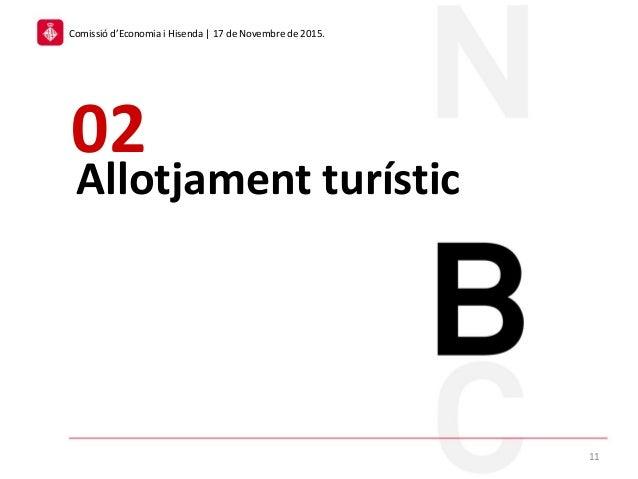 Allotjament turístic 02 11 Comissió d'Economia i Hisenda | 17 de Novembre de 2015.
