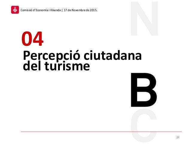 Percepció ciutadana del turisme 04 24 Comissió d'Economia i Hisenda | 17 de Novembre de 2015.