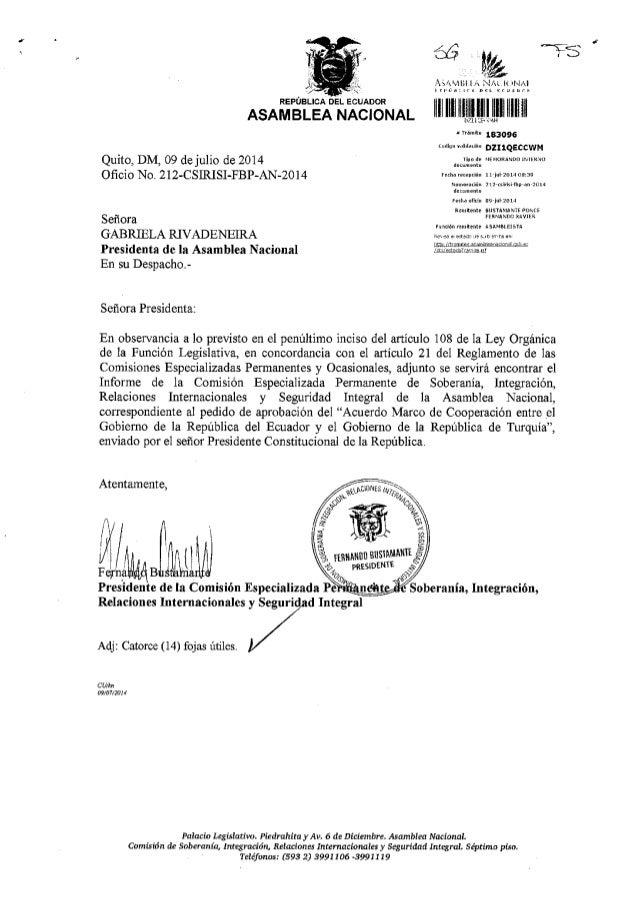 Informe acuerdo ecuador turkia cooperacion