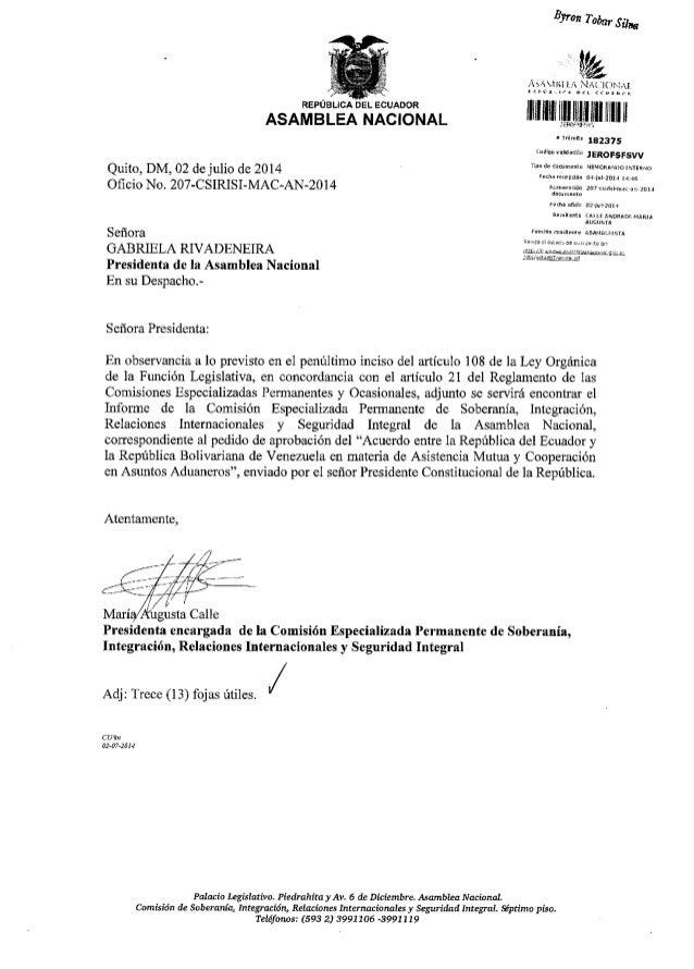 REPUBLICA DEL ECUADOR ASAMBLEA NACIONAL Quito, DM,02 de julio de2014 Ofi cio No. 207-CSIRISI-MAC-AN-20 1 4 Seffora GABRIEL...