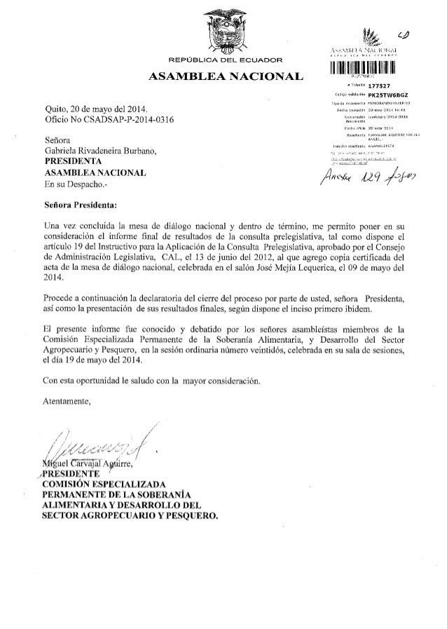 Informe final de resultados de la consulta prelegislativa del proyecto de Ley Orgánica de Recursos Hídricos, Uso y Aprovec...