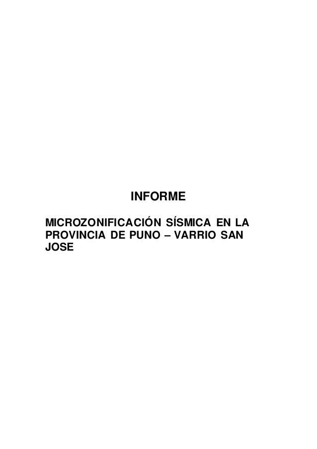INFORME MICROZONIFICACIÓN SÍSMICA EN LA PROVINCIA DE PUNO – VARRIO SAN JOSE