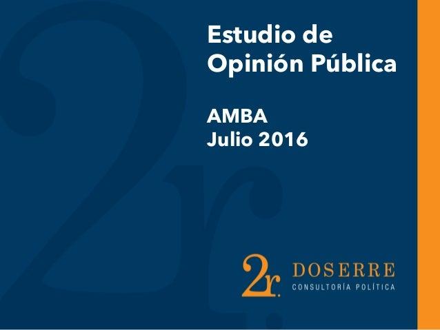 Estudio de Opinión Pública AMBA Julio 2016