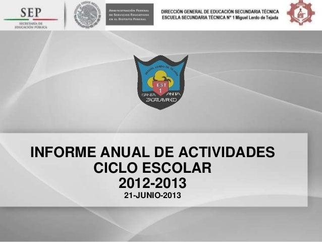 INFORME ANUAL DE ACTIVIDADESCICLO ESCOLAR2012-201321-JUNIO-2013
