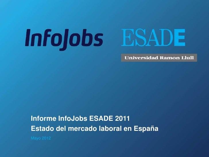 Informe InfoJobs ESADE 2011Estado del mercado laboral en EspañaMayo 2012