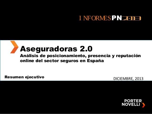 I NFORM ESPN2 1 03  Aseguradoras 2.0  Análisis de posicionamiento, presencia y reputación online del sector seguros en Esp...