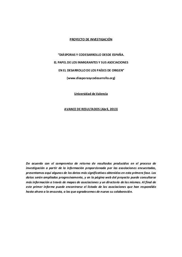 """PROYECTO DE INVESTIGACIÓN """"DIÁSPORAS Y CODESARROLLO DESDE ESPAÑA. EL PAPEL DE LOS INMIGRANTES Y SUS ASOCIACIONES EN EL DES..."""