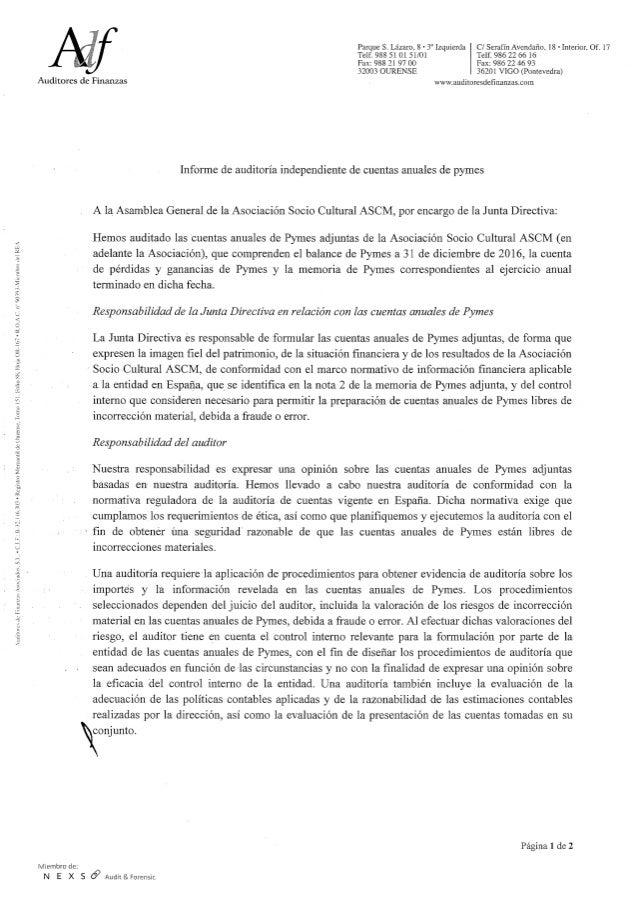 Informe auditoría ASCM