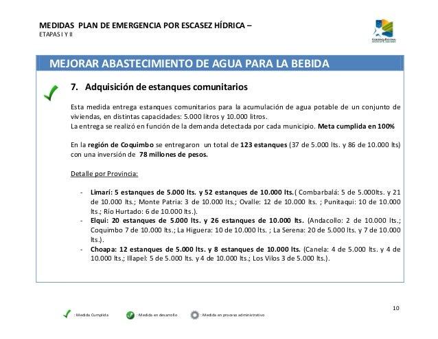 Informe avance plan de emergencia por escasez h drica for Estanque de agua potable easy