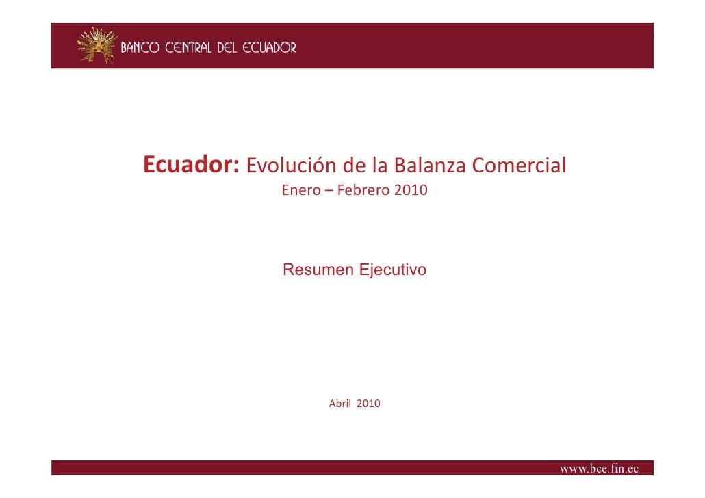 Ecuador:EvolucióndelaBalanzaComercial              Enero Febrero2010              Enero – Febrero 2010            ...