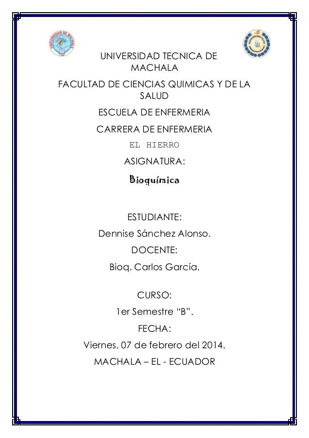 UNIVERSIDAD TECNICA DE MACHALA FACULTAD DE CIENCIAS QUIMICAS Y DE LA SALUD ESCUELA DE ENFERMERIA CARRERA DE ENFERMERIA EL ...