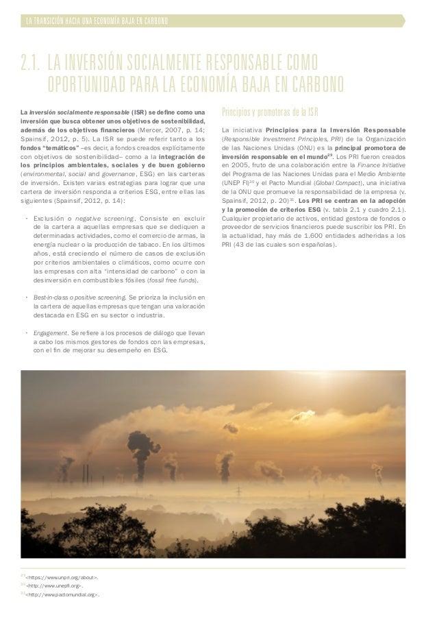 2.1. La inversión socialmente responsable como  oportunidad para la economía baja en carbono La inversión socialmente r...