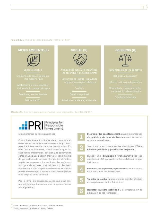 19 Tabla 2.1. Ejemplos de principios ESG. Fuente: UNPRI32 Cambio climático Emisiones de gases de efecto invernadero (GEI) ...