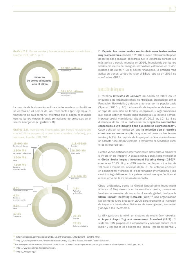 25 Gráfico 2.7. Bonos verdes y bonos relacionados con el clima. Fuente: CBI, 2015, p. 2 La mayoría de las inversiones fina...