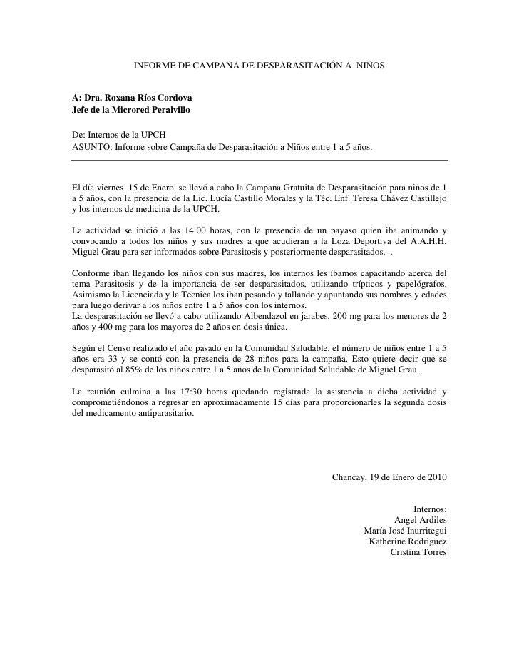 INFORME DE CAMPAÑA DE DESPARASITACIÓN A  NIÑOS<br />A: Dra. Roxana Ríos Cordova<br />Jefe de la Microred Peralvillo<br />D...