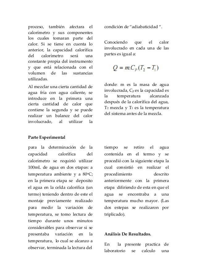 INFORME DE LA CAPACIDAD CALIRÍFICA DE UN CALORÍMETRO Slide 2