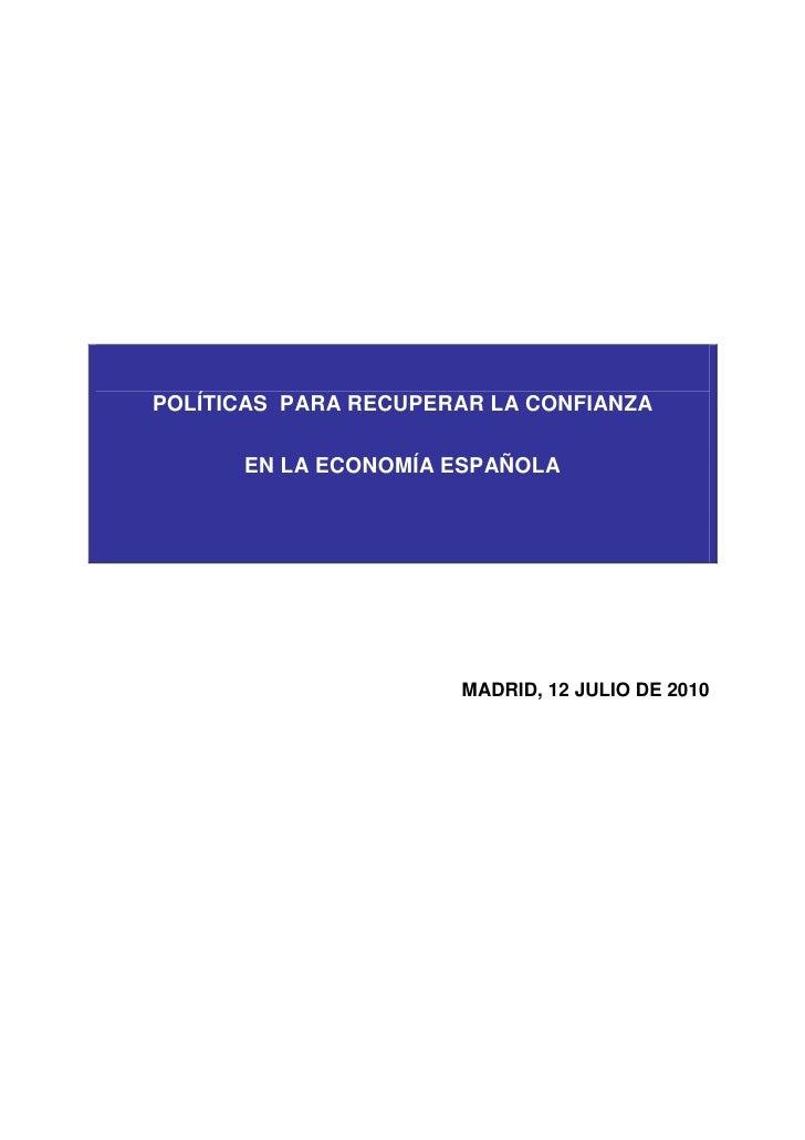 Informe Ceoe Polticas Recuperar Confianza EconomíA EspañOla