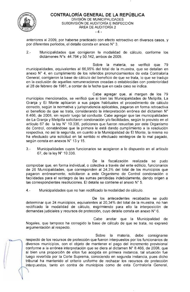 Informe CGR Sobre Incremento Previsional Municipal Chile