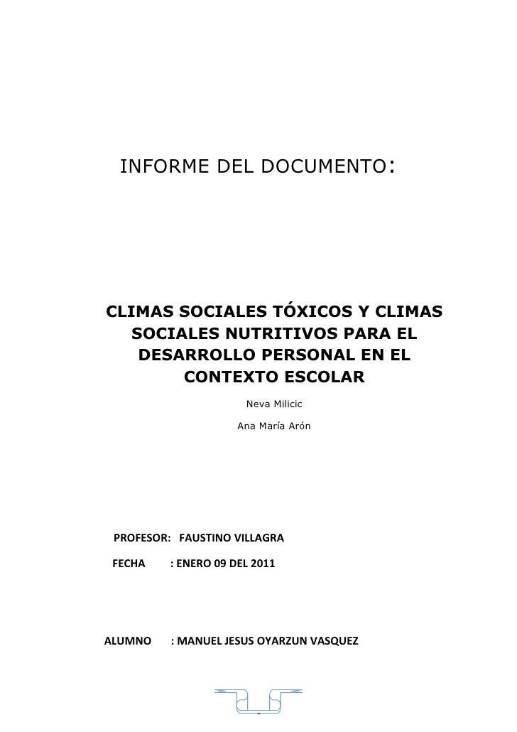 INFORME DEL DOCUMENTO:     CLIMAS SOCIALES TÓXICOS Y CLIMAS    SOCIALES NUTRITIVOS PARA EL     DESARROLLO PERSONAL EN EL  ...