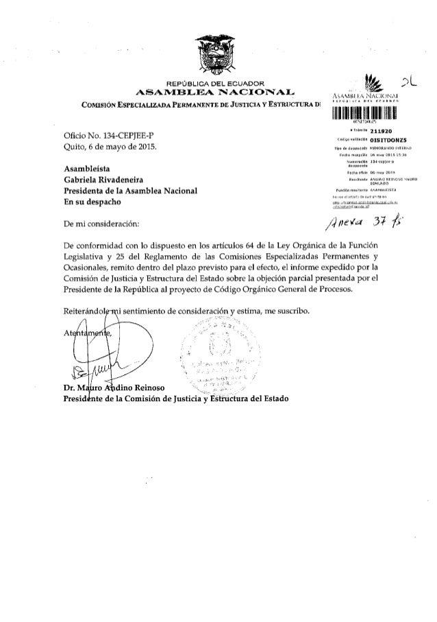 Informe no vinculante aprobado en la Comisión de Justicia COGEP