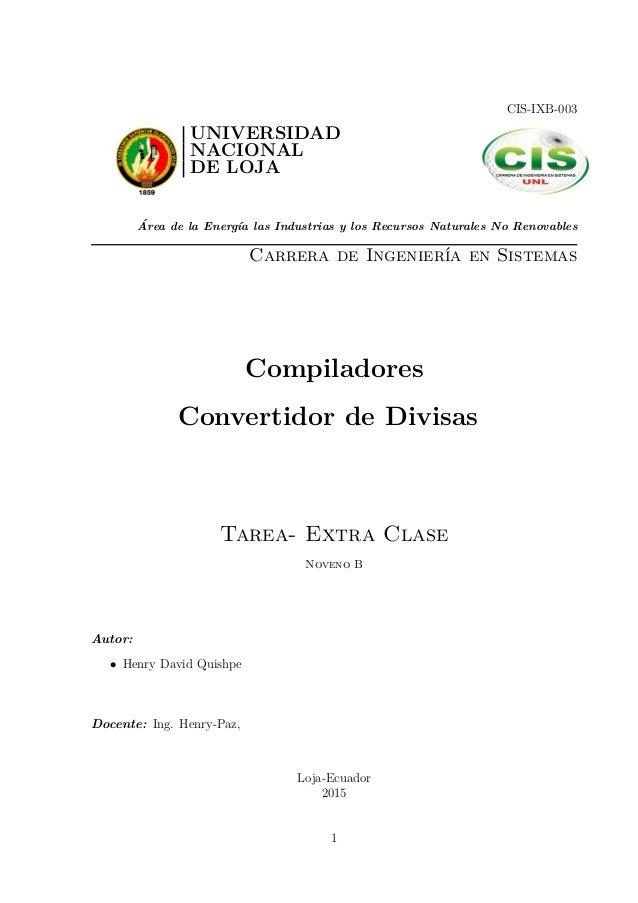 compilador convertidor de divisas cis ixb 003 universidad nacional de loja area de la energa