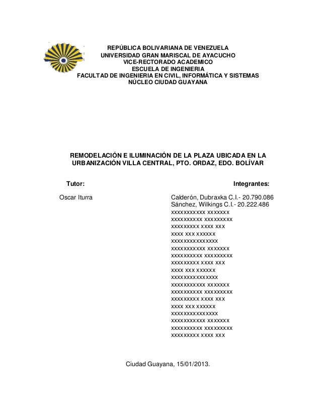 REPÚBLICA BOLIVARIANA DE VENEZUELA            UNIVERSIDAD GRAN MARISCAL DE AYACUCHO                    VICE-RECTORADO ACAD...
