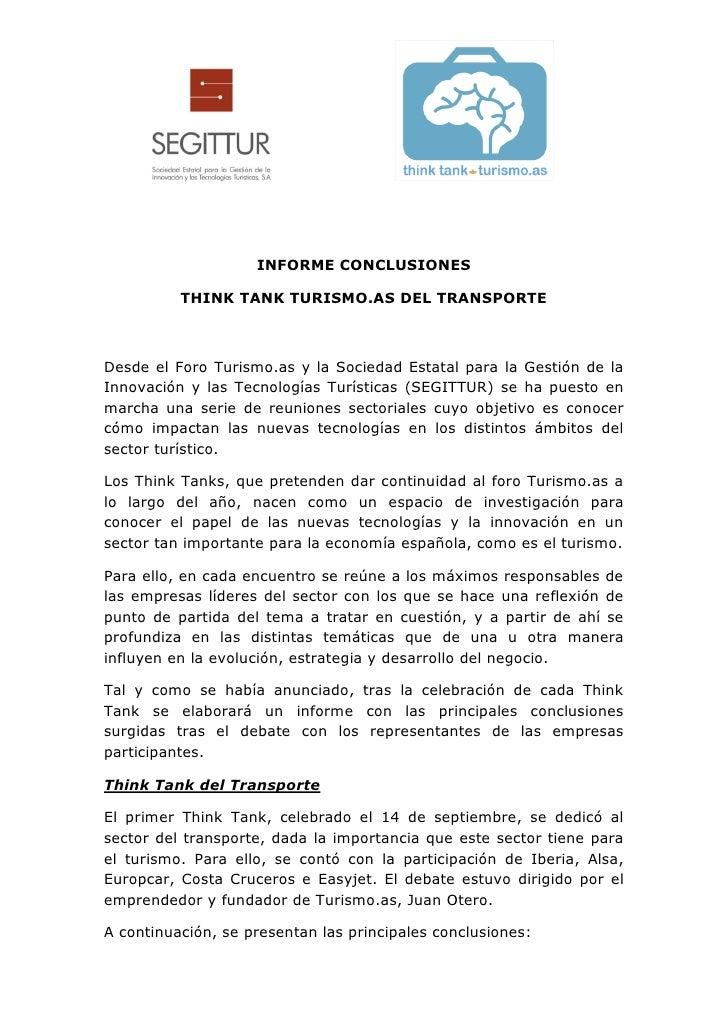 INFORME CONCLUSIONES          THINK TANK TURISMO.AS DEL TRANSPORTEDesde el Foro Turismo.as y la Sociedad Estatal para la G...