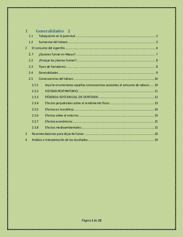 Página 1 de 22 1 Generalidades 2 1.1 Tabaquismo en la juventud ..............................................................