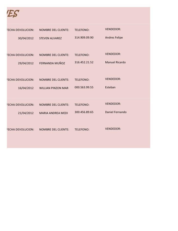 ONES  FECHA DEVOLUCION:   NOMBRE DEL CLIENTE:   TELEFONO:       VENDEDOR:         30/04/2012   STEVEN ALVAREZ        314.9...