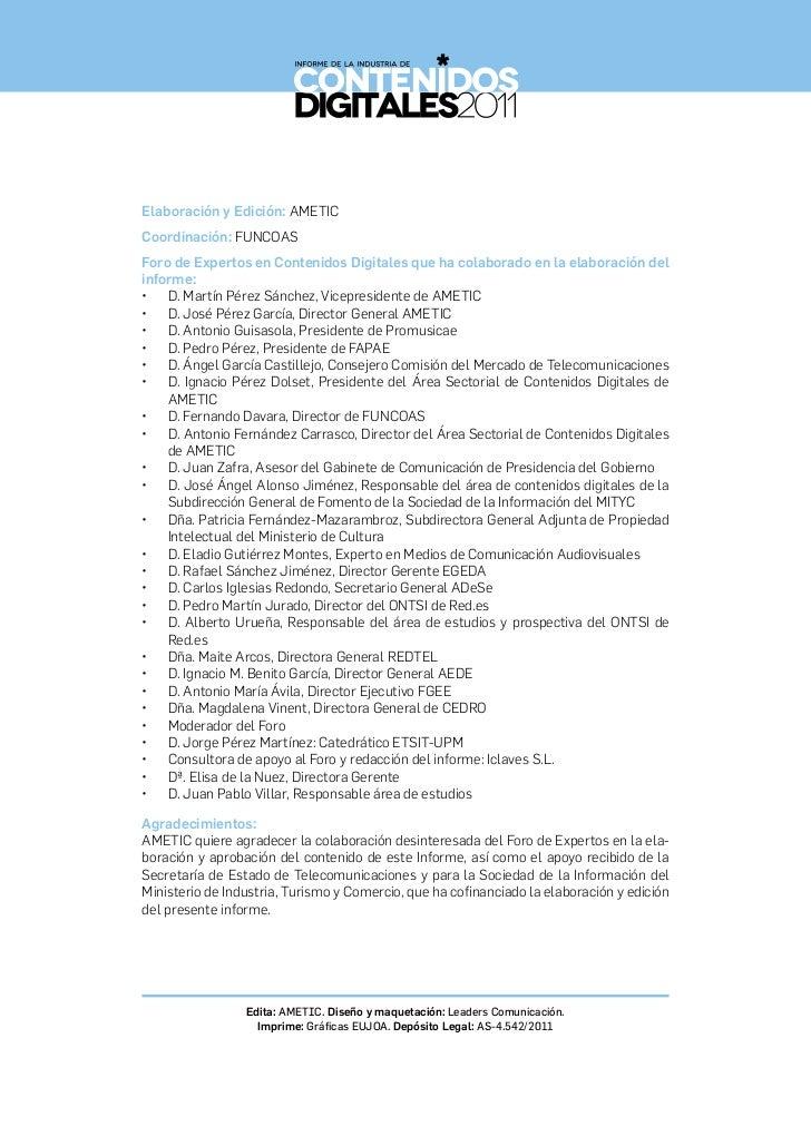 Informe de la Industria de los Contenidos Digitales 2011 Slide 2