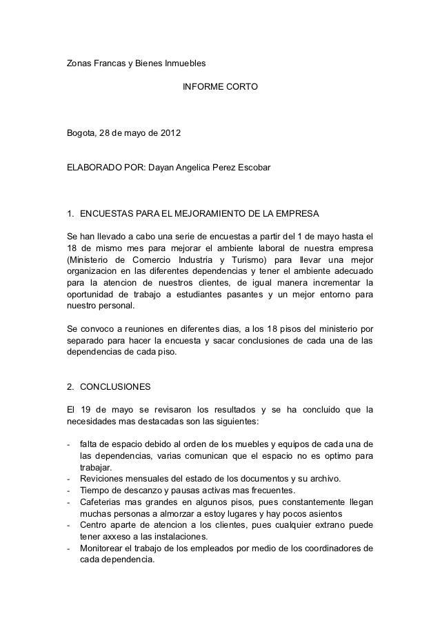 Zonas Francas y Bienes Inmuebles                             INFORME CORTOBogota, 28 de mayo de 2012ELABORADO POR: Dayan A...