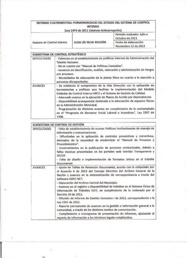 Informe cuatrimestral noviembre 2013