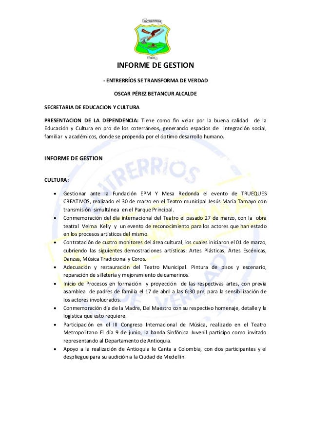 INFORME DE GESTION                        - ENTRERRÍOS SE TRANSFORMA DE VERDAD                             OSCAR PÉREZ BET...