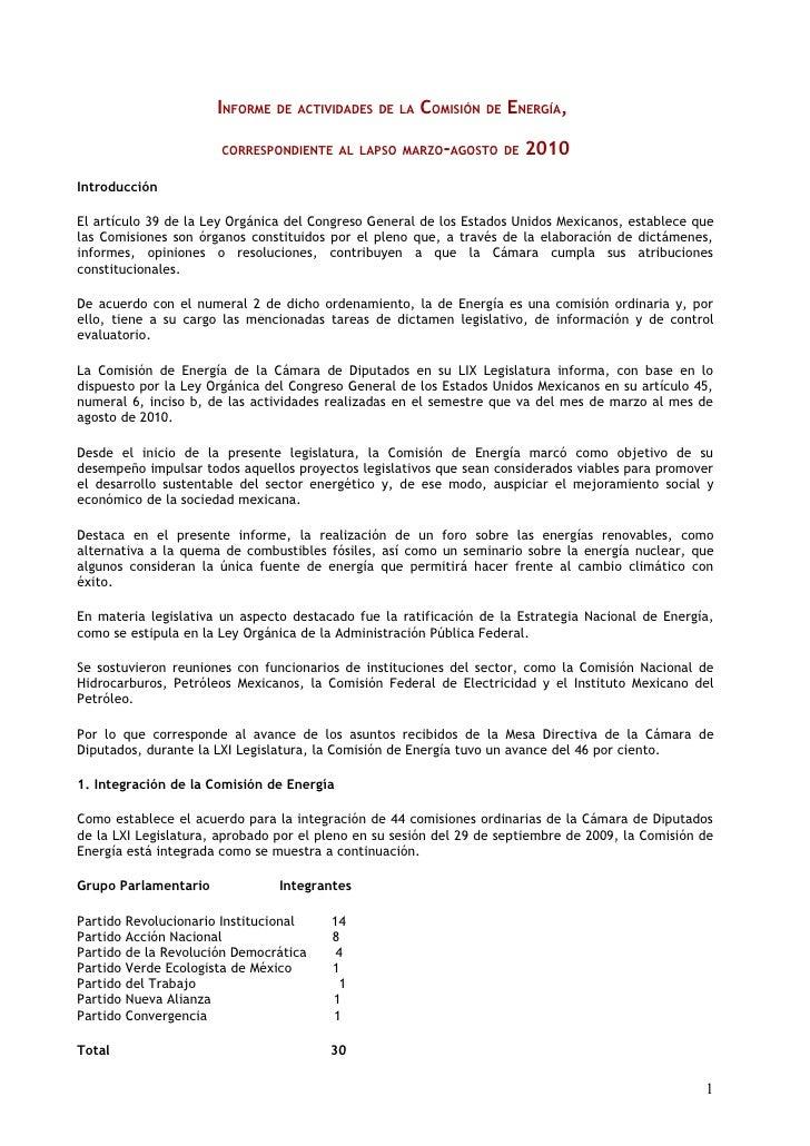 INFORME DE ACTIVIDADES DE LA COMISIÓN DE ENERGÍA,                          CORRESPONDIENTE AL LAPSO MARZO-AGOSTO DE       ...