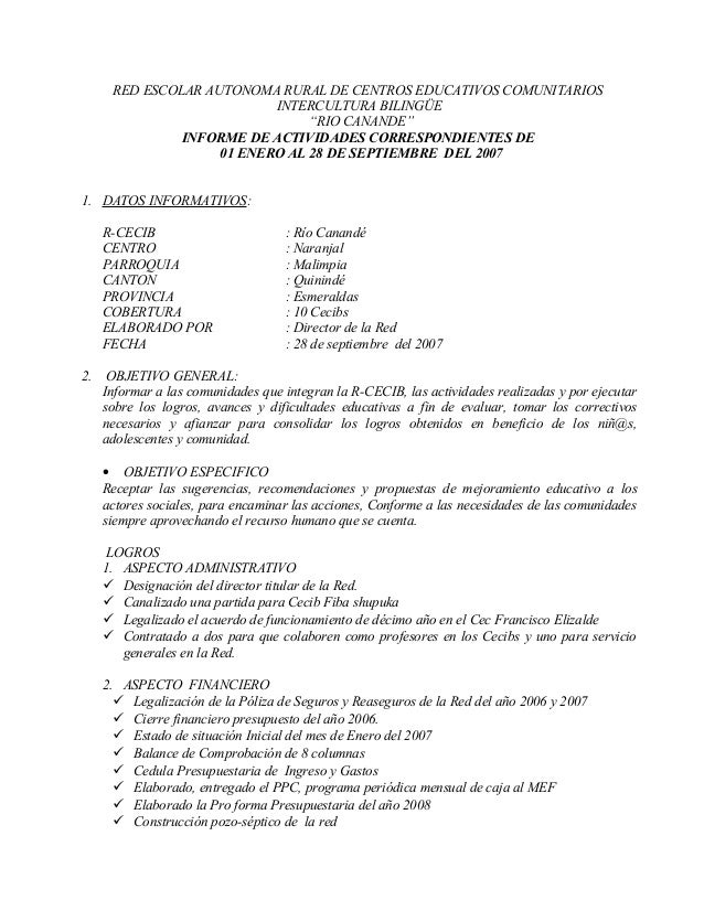 "RED ESCOLAR AUTONOMA RURAL DE CENTROS EDUCATIVOS COMUNITARIOS INTERCULTURA BILINGÜE ""RIO CANANDE"" INFORME DE ACTIVIDADES C..."