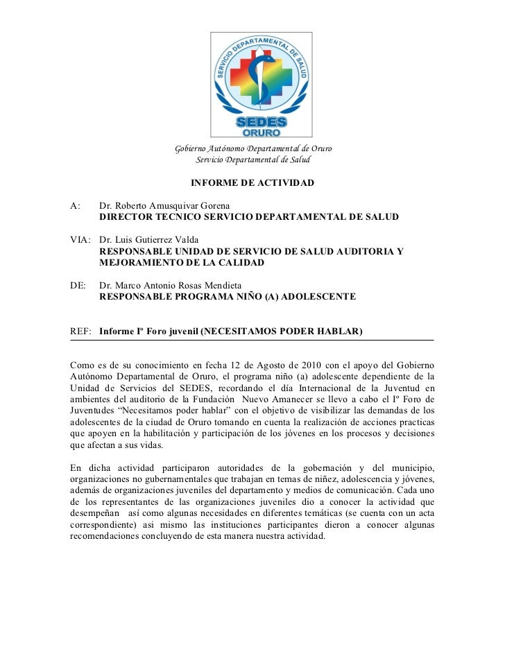 Gobierno Autónomo Departamental de Oruro                               Servicio Departamental de Salud                    ...