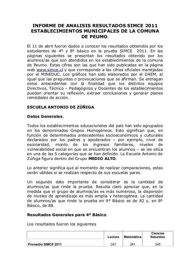 INFORME DE ANALISIS RESULTADOS SIMCE 2011 ESTABLECIMIENTOS MUNICIPALES DE LA COMUNA                 DE PEUMO.El 11 de abri...