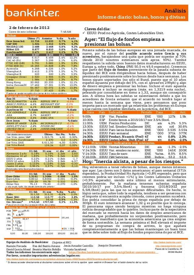 Equipo de Análisis de Bankinter (Sujetos al RIC) http://broker.bankinter.com/ Ramón Forcada Eva del Barrio Arranz http://w...